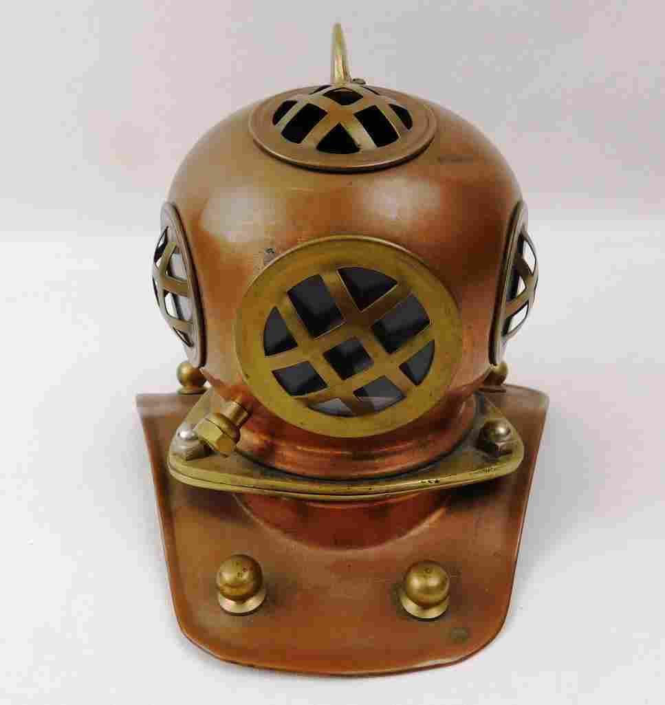 Miniature Deep Sea Diving Helmet Brass & Glass