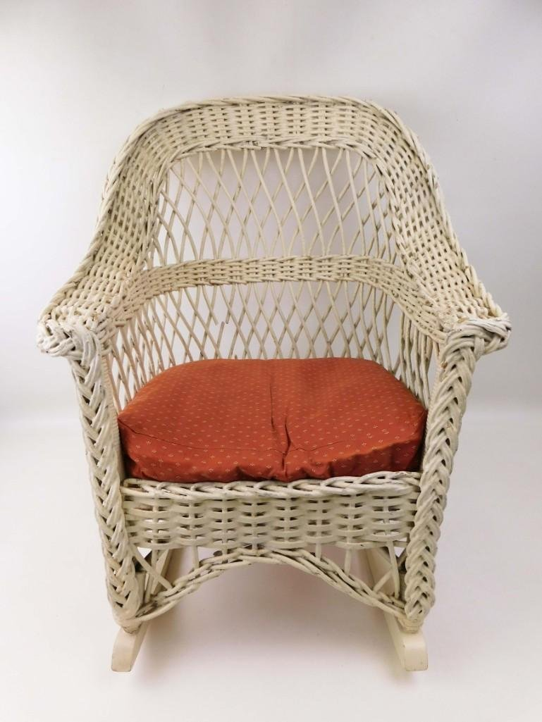 Vintage Child Size Wicker Rocking Chair with Cushion