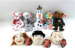 Lot of Ty Beanie Babies and Three Stooges Talking