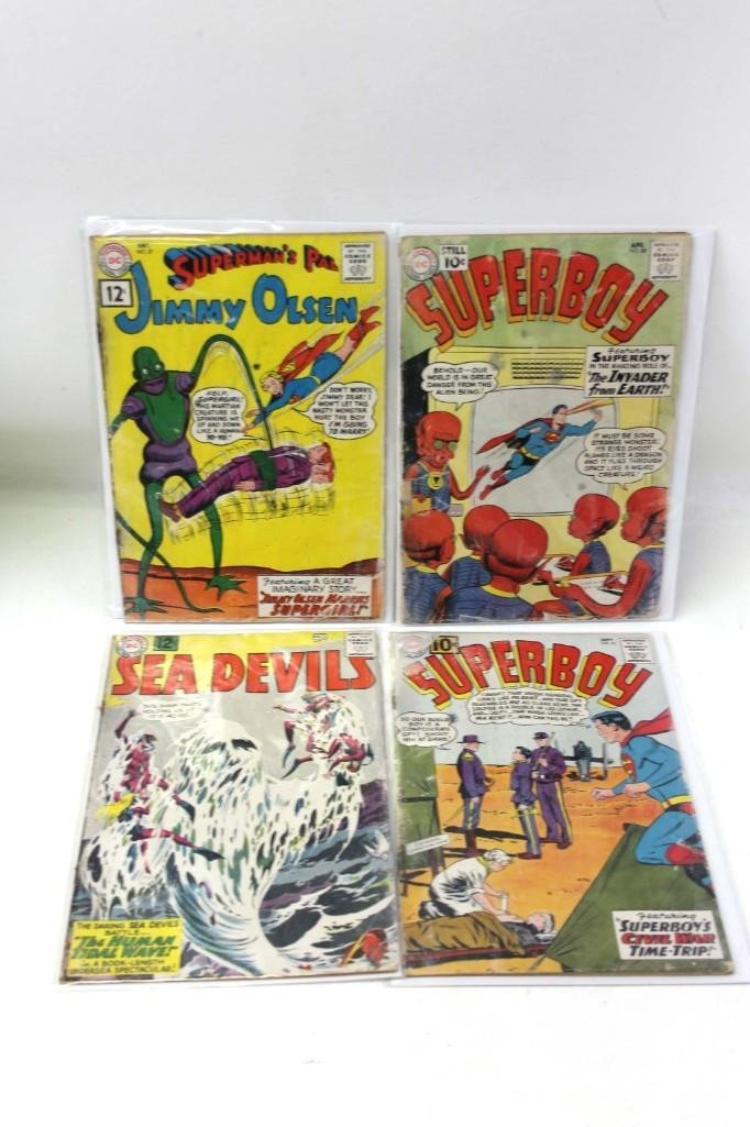 Lot of 4 Vintage Comic Books incl Superboy , Jimmy