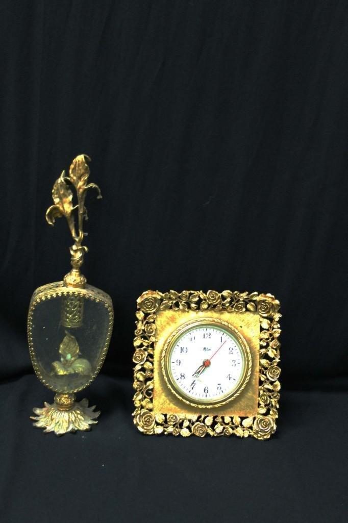 Vintage Matson Ormolu Filigree Clock and a Perfume