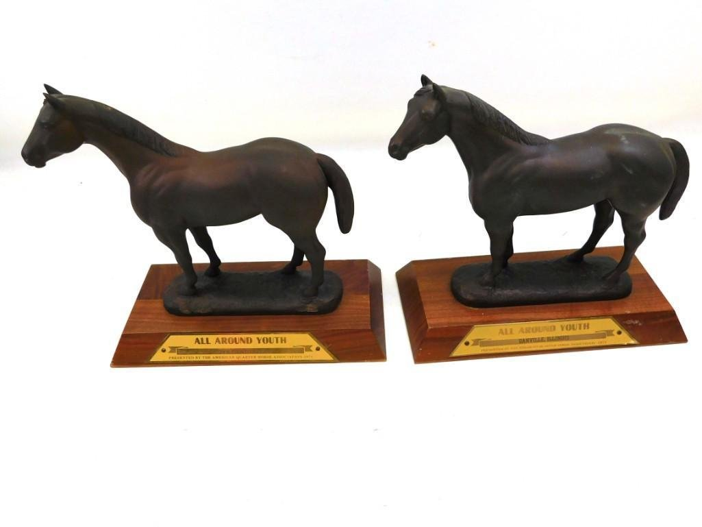 Pair of Heavy Metal and Wood Horse Trophies or Statues