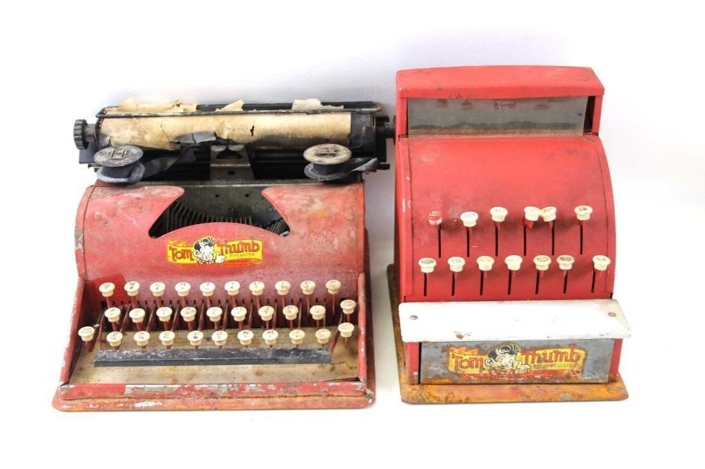 Tom Thumb Toy Typewriter and Cash Register