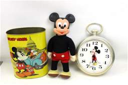 Lot of Mickey Mouse incl Vintage Garbage Can  Marching