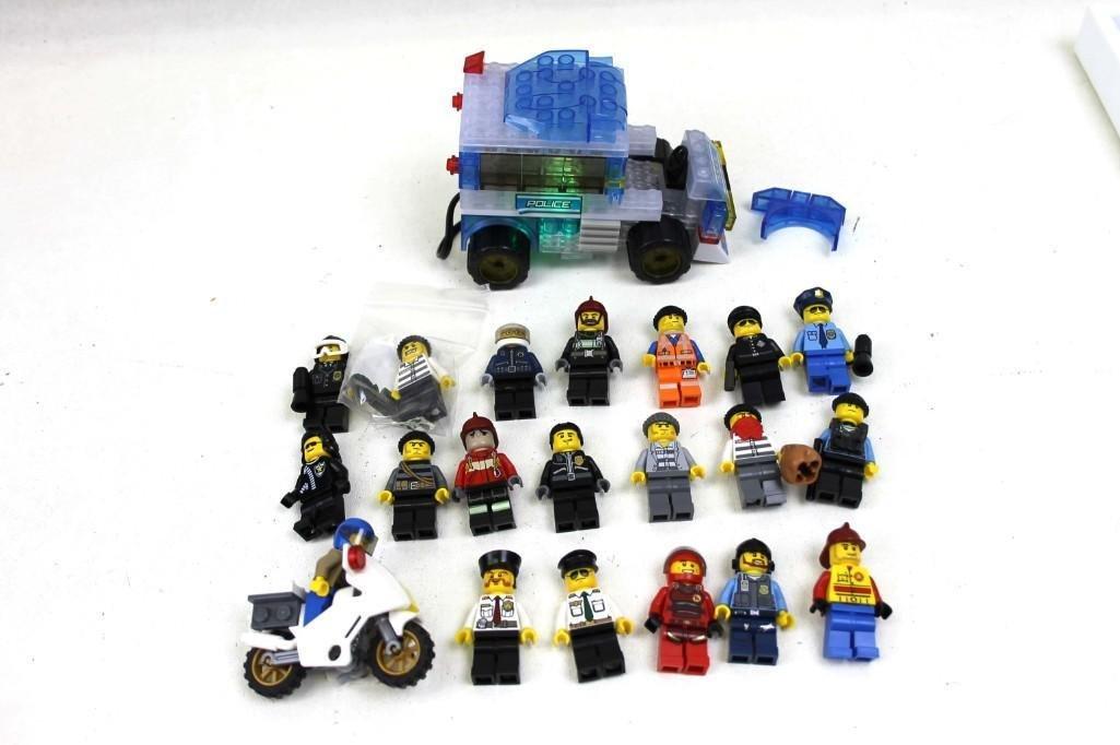 20 Lego Mini Figs incl Cops , Robbers , Firemen , Light