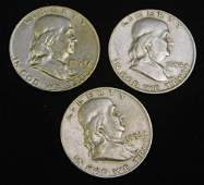 Lot of 3 Nice Franklin Half Dollars