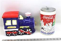 Ceramic Train Cookie Jar and a 2004 Coca Cola Bears
