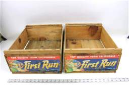 2 Vintage Wooden Fruit Crates First Run Grapes