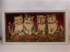 Vintage Framed Cat / Kitten Rug