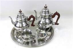 Williamsburg Kirk Stieff Pewter 5 pc Coffee  Tea Set