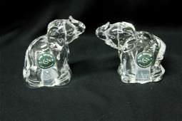 Pair of Lenox Fine Crystal Elephants