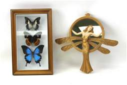 Framed Butterfly Shadowbox and a Dragonfly Lady Mirror