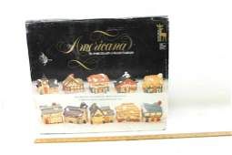 Americana Miniature Porcelain Christmas Village Houses