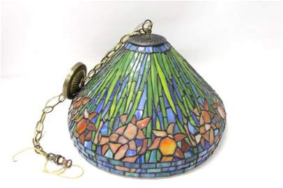 Stained Glass Hanging Light Fixture with Floral Design