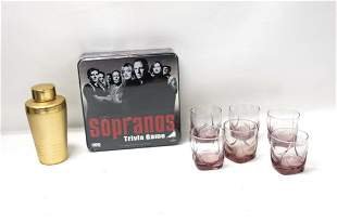 Set of 6 Libbey Rocks Glasses , Cocktail Shaker , and