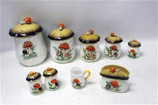 Vintage Mushroom Kitchen Items incl Canister Set , Salt