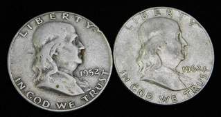 Lot of 2 Franklin Half Dollars 90 Silver