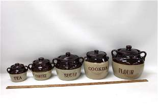 Set of Western Stoneware Bean Pot Style Canisters