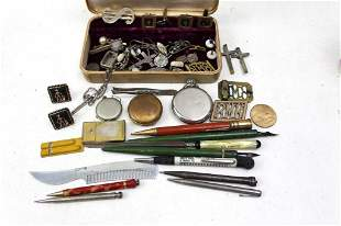 Vintage Lot - Old Pens, pocket watches, Pins,
