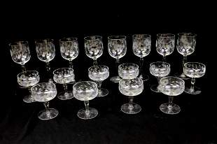 Large Lot of Etched Fancy Stemware