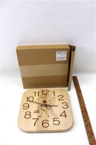 Morton Salt Butcher Block Clock New In Box