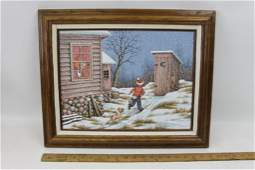 Framed C Carson Painting Boy Running to Outhouse