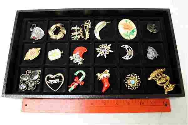 Lot of Costume Jewelry Brooches incl Vintage
