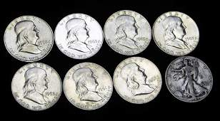 7 AU Franklin Half Dollars and 1 Walking Liberty Half