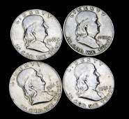 4 AU Franklin Half Dollars