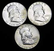 3 AU Franklin Half Dollars