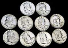 Lot of 10 Franklin Half Dollars 90 Silver