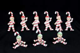 Set of 9 Lefton Candy Cane Elves Vintage