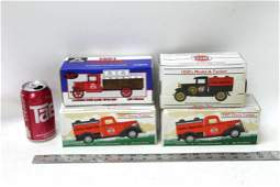 4 Die Cast Metal Truck Coin Banks in Original Boxes