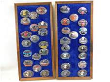 Lot of 37 Limited Edition NFL Belt Buckles Mounted on