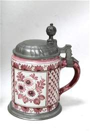 Faience Stein with Floral Pattern