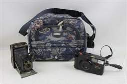 Camera Lot including Antique Kodak Accordion Camera,