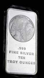 10 oz Silver Bar Indian Head Buffalo Design