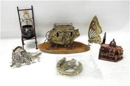 Lot of Metal Decor incl Stagecoach  Butterfly  Lucky