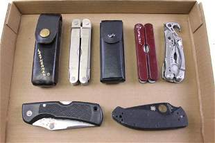 Lot of Multi Tools and Pocket Knives incl Leatherman