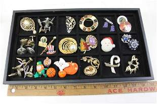 Lot of Costume Jewelry incl Pins , Brooches , Cufflinks