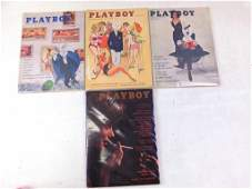 Lot of 4 Playboy Magazines from 1961