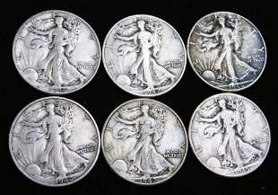 6 Walking Liberty Half Dollars 90% Silver