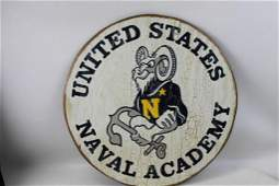 Large Round United States Naval Academy Wooden Sign