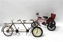 Novelty Bicycle clock and a Toy Tricycle