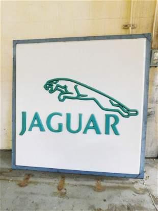 Large Vintage Jaguar Sign Aqua and White 6 ft x 6 ft