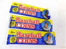 Lot of 3 Topps Baseball Coins NOS