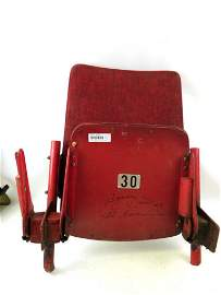Old Chicago Stadium Seat Signed by Bobby Hull
