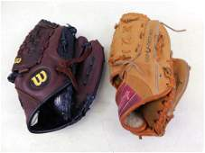 Lot of 2 Baseball Gloves / Mitts Wilson and Rawlings