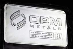 10 Troy Oz Silver Bar OPM Metals