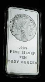 10 Troy Ounce Silver Bar Indian Head Buffalo Design